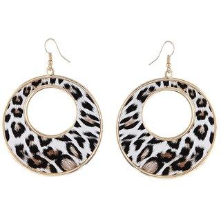 9blings Cheetah Printed Round Black Ethnic African Hoop Style Earring