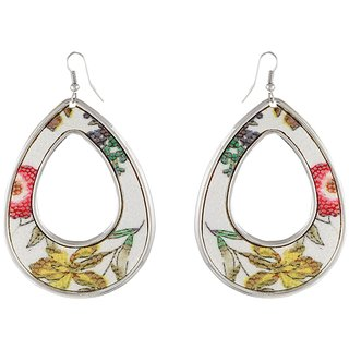 9blings Flower Multicolour Printed Gold Tone Drop Style Earring