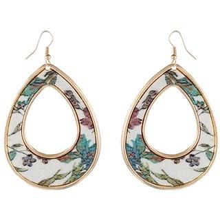 9blings Flower Multicolour Printed Silver Tone Drop Style Earring