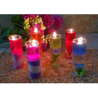 ZAHAB FANCY GEL GLASS BIG PENCIL CANDLE SET OF 12