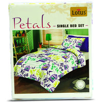 Lotus Printed Single Bed Sheet Approx 146 Cm X 218 Cm