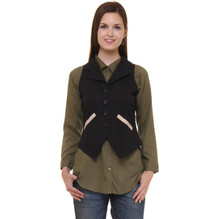 Ruhaans Black Solid Cotton Waistcoat For Women