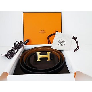 Hermes Belt Camel Black Gold H Buckle Reversible  Belt