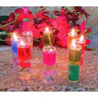 Zahab Fancy Gel Glass Pencil Candle Set Of 12