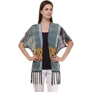 Ruhaans Multicolor Printed Georgette Shrug