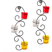Tiedribbons Decorative T-Light Candles Holder /Wall Sconce Holder Pack Of 2(Black, Metal)