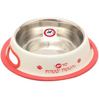 PET CLUB51 STANDARD DOG FOOD BOWL FURRY FRIENDS WHITE  -EXTRA SMALL