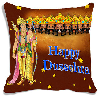 meSleep Happy Dussehra Multi Color  Digital Printed Cushion Cover (16x16)