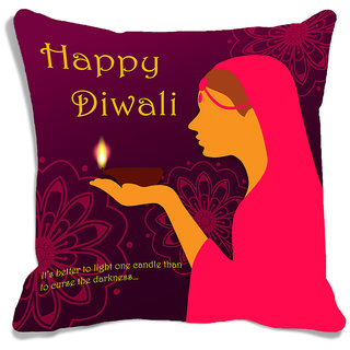 meSleep Brown Happy Diwali Cushion (With Filling - 16x16 Inches)