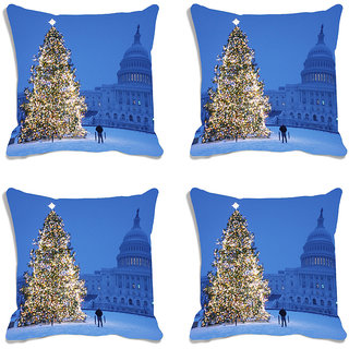 meSleep Blue Christmas Tree Digitally Printed Cushion Cover (16x16)-Set Of 4