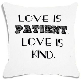 meSleep White Love Is Kind Digital Printed Cushion Cover (16x16)