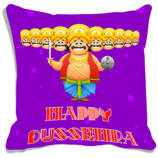 meSleep Happy Dussehra Multi Color  Cushion (With Filling - 16x16 Inches)