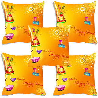 meSleep Yellow Happy Diwali Digitally Printed Cushion Cover (16x16)-Set Of 5