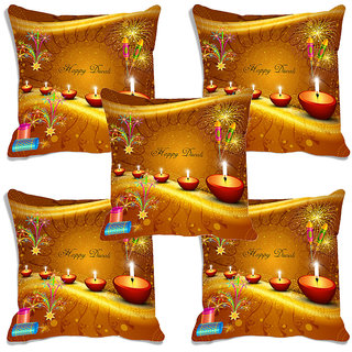 meSleep Multi Color  Happy Diwali Digitally Printed Cushion Cover (16x16)-Set Of 5