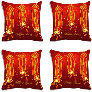 meSleep Brown Happy Diwali Digitally Printed Cushion Cover (16x16)-Set Of 4