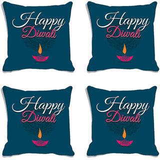 meSleep Blue Happy Diwali Digitally Printed Cushion Cover (16x16)-Set Of 4