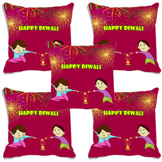 meSleep Multi Happy Diwali Digitally Printed Cushion Cover (16x16)-Set Of 5