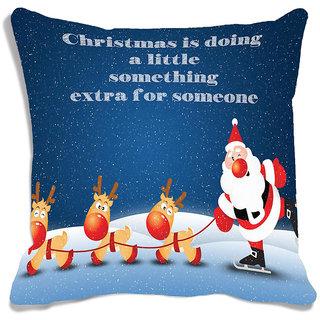 meSleep Blue   Santa Christmas  Cushion (With Filling - 16x16 Inches)