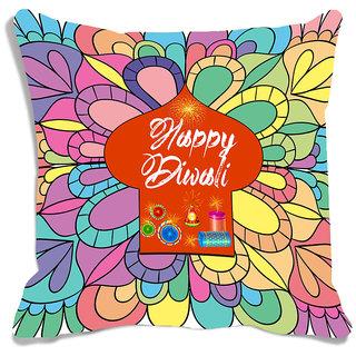 meSleep Multi Color Happy Diwali Digitally Printed Cushion Cover (16x16)