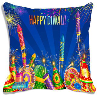 meSleep Multi Happy Diwali Digitally Printed Cushion Cover (16x16)
