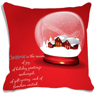 meSleep Red Christmas House   Cushion (With Filling - 16x16 Inches)