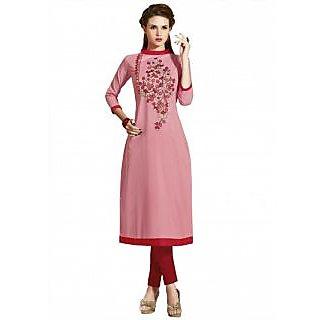 Saree7 Pure Cotton Light Pink Embrodery Designer Kurti