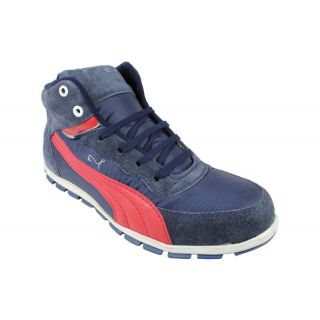 JerryMouse.in Mens Navy Blue Red Leather Sports Shoe - MSPO0015