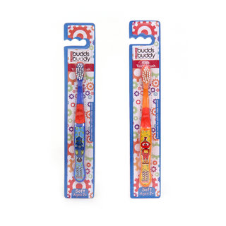 Combo of 2 Buddsbuddy Kids Toothbrush - Orange and Blue