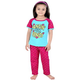 Punkster Light Blue Half Sleeve Cotton Top Pyjama Set For Baby Girls
