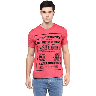 Elaborado Men Coral Red Round Neck Tshirt