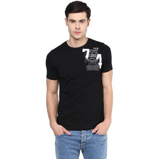 Elaborado Men Black Round Neck Tshirt