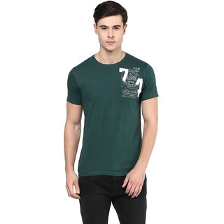 Elaborado Men Forest Green Round Neck Tshirt