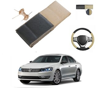 Millionaro Art-Leather Beige  Black Breathable Hand Stitched Steering Cover For Volkswagen Passat  (2015 Upwards) With Needle