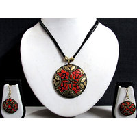 Black Thread Teracotta Round Pendant Necklace Set