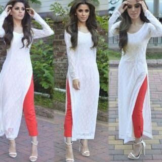 RapidDukan Un-Stitched White Color Long Salwar SuitSF811