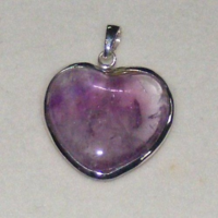 Sale! Amethyst Gemstone Heart Shaped Pendant Jewelry Chakra Heaing Crystal