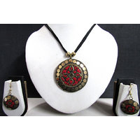 Black Thread Teracotta Sun Pendant Necklace Set
