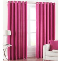Beautiful Solid Crush Curtain -Dark Pink (set Of 2)