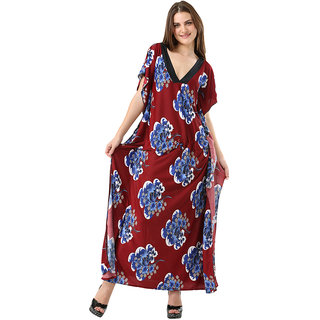 Appealing And Stylish All Over Floral Print Full Length Butterfly Kaftan Multi Maroon