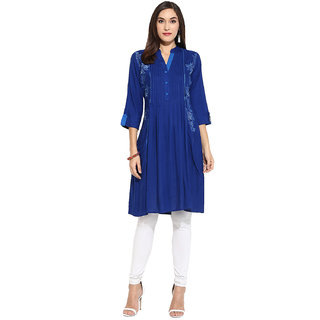 Mytri Blue  Embroidered Rayon Anarkali Kurta
