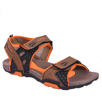 AZTEC Unisex Brown, Orange Synthetic Leather And Phylon Floater Sandals (Size 6 UK/IND)