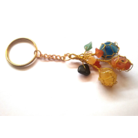Sale! 3 Tumbed Multi Color Stone Key Chain Chakra Healing Crystal Gemstone Jewelry