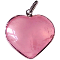 Sale! Rose Quartz Gemstone Heart Shaped Pendant Jewelry Chakra Heaing Crystal