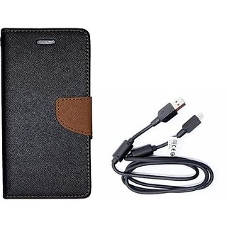 Wallet Mercury Flip Cover for Micromax Canvas A1 (BROWN) With 3 in 1 usb charging cable
