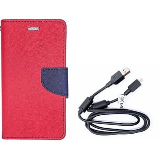 Wallet Mercury Flip Cover for REDMI NOTE 4G (RED) With Genuine USB Charging Data Cable
