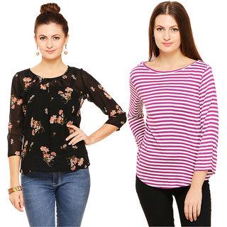 Rigo Multicolor Floral Round Neck Casual Shirts For Women