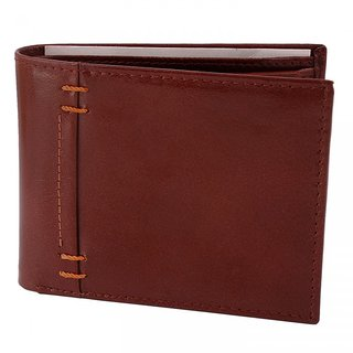 Zint Brown Pure Leather Mens Wallet Bifold Credit Card Holder Coin Purse
