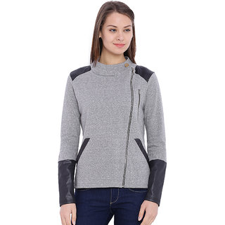 Campus Sutra Grey Solid Cotton Jacket For Women