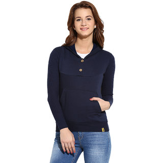 Campus Sutra Blue Solid Long Sleeve Cotton Hooded Sweatshirt For Women