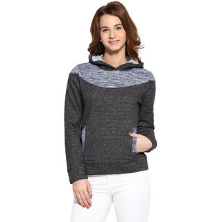 Campus Sutra Grey Blue Solid Long Sleeve Cotton Hooded Sweatshirt For Women